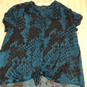 Express Tops - Sheer teal short sleeve hi-lo button up